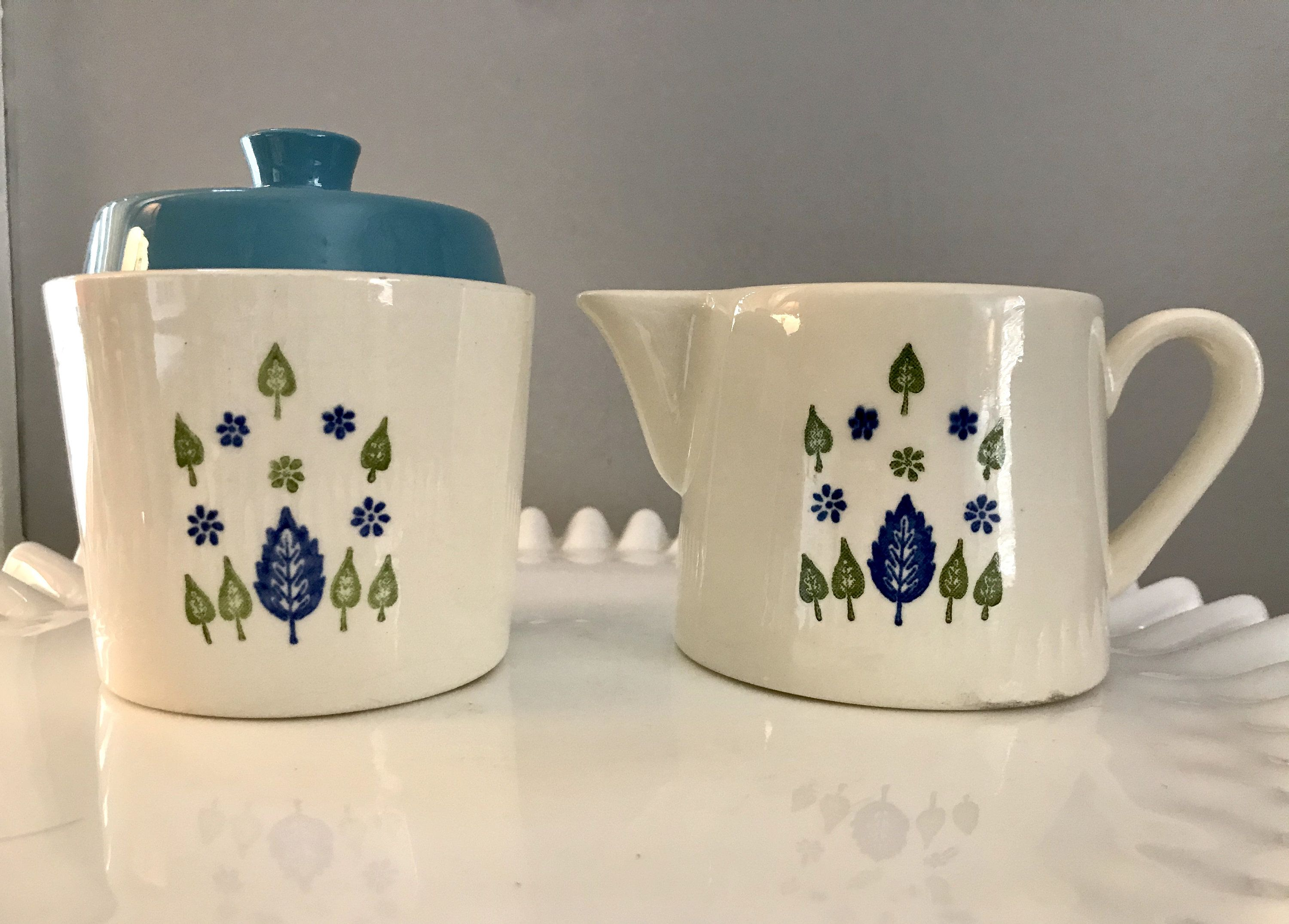 Creamer and Covered Sugar Bowl Marcrest  Swiss Alpine Made in USA