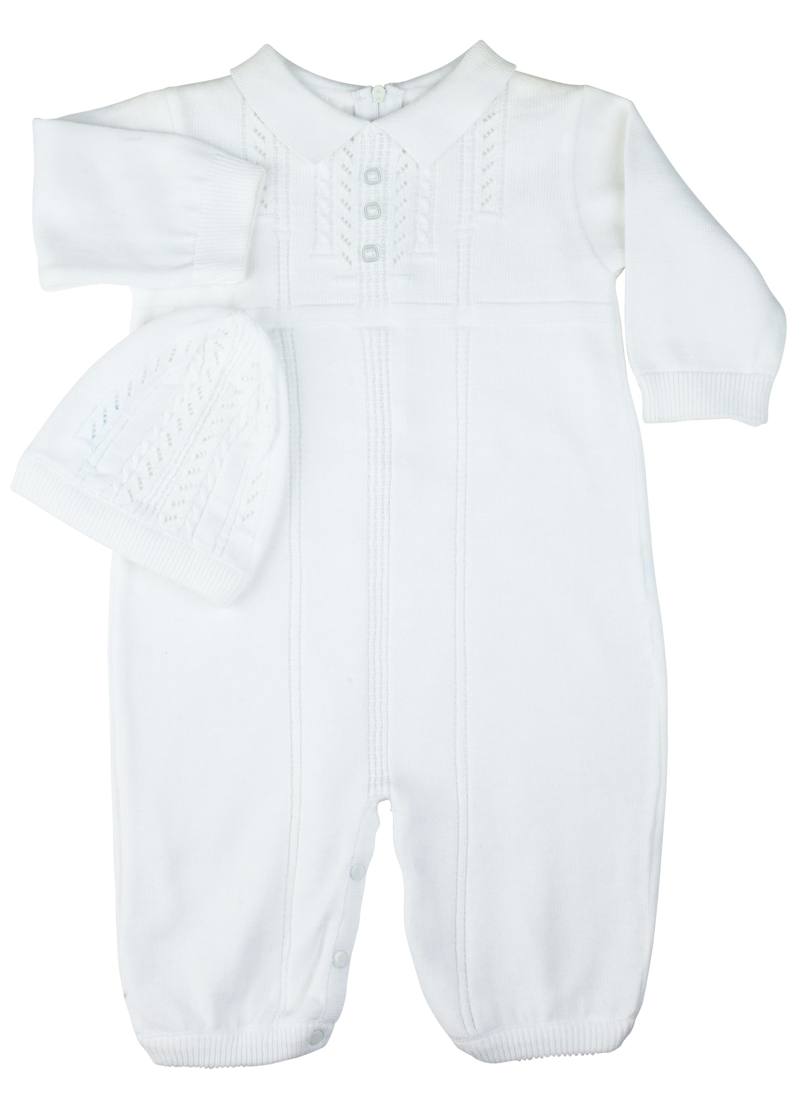 6f9c2e355 Feltman Brothers baby boy 2-piece white knit romper with matching hat. Cozy  and…