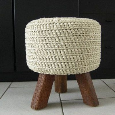 Prime Three Legged Off White Stool With Hand Crocheted Cover Off Cjindustries Chair Design For Home Cjindustriesco