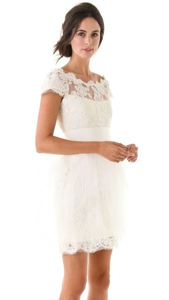 Gorgeous Tulle Lace Dress By Marchesa Perfect For A Small Casual Wedding Or Wear It Wedding Rehearsal Dress Rehearsal Dinner Dresses Off Shoulder Lace Dress