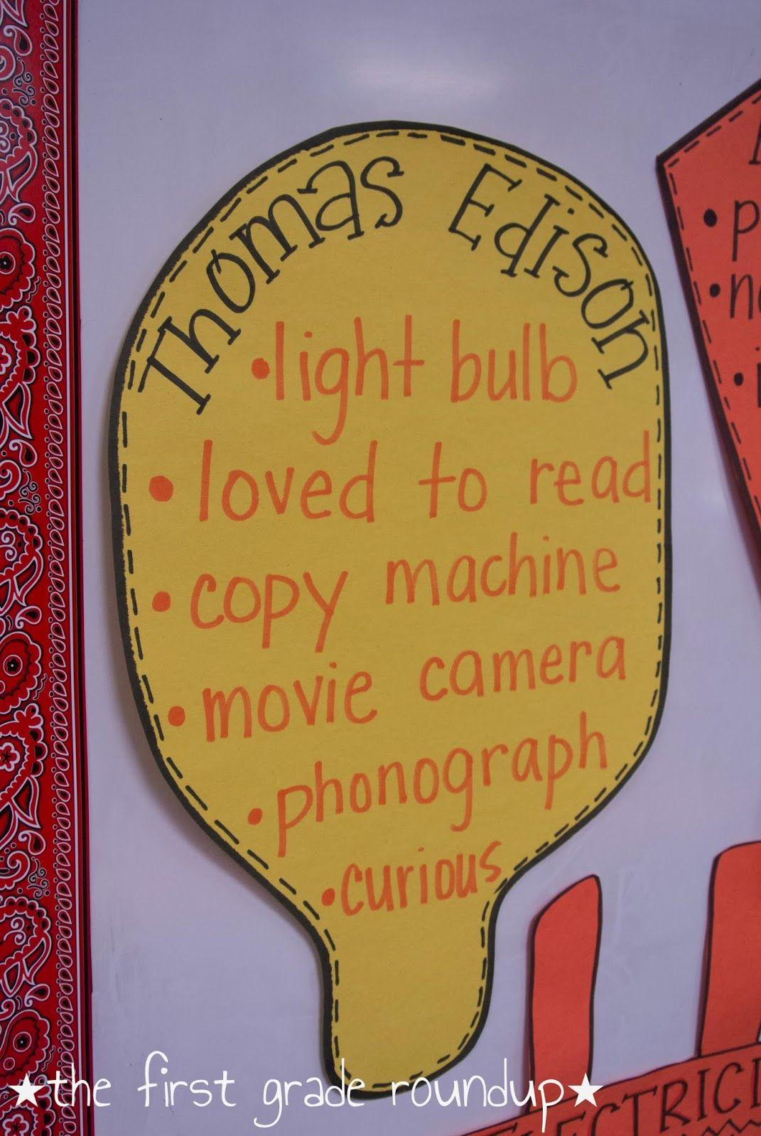 Thomas Edison Anchor Chart Thefirstgraderoundupspot