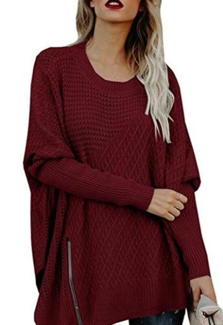0bb55331a6b Side Split Zipper Off Shoulder Sweater | Fashion ideas | Loose knit ...