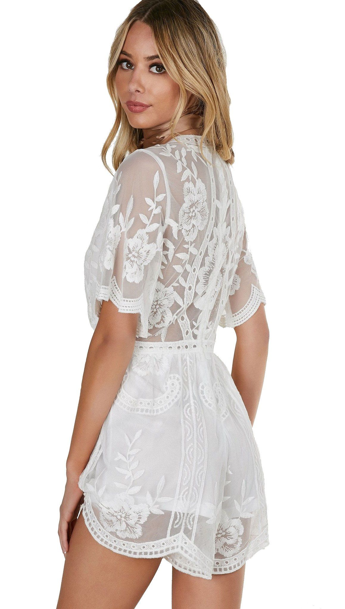 Honey Punch Antique Embroidered Crochet Deep V Neck Romper White Lace Click Image To Assess Even More Details Thi White Lace Romper Clothes Design Rompers [ 2048 x 1159 Pixel ]
