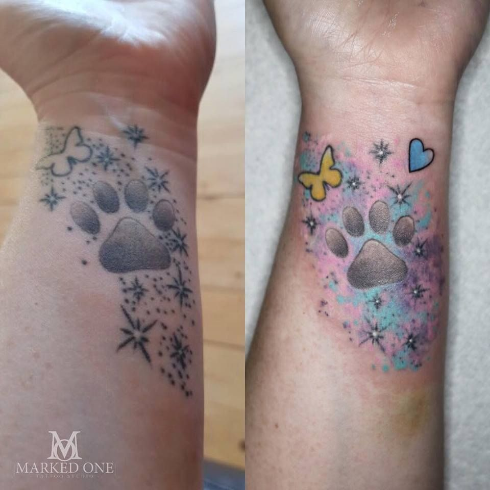 Rework Tattoo Added Cute Colourful Watercolour To Make This Older Piece Pop Old Tattoo Done Else Where New Rework Done By Tattoos Tattoo Model Cute Tattoos