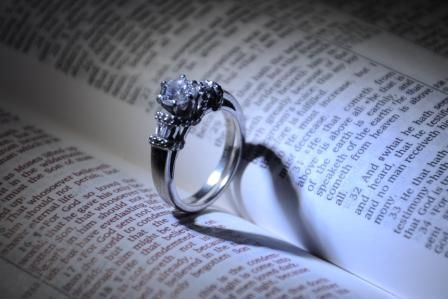 Wedding ring on bible with heart shadow Photography Pinterest