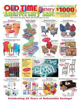 Old Time Pottery Patio Furniture Old Time Pottery Anniversary Sale Pottery