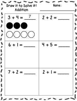 draw it to solve it printables addition subtraction math activities prek 1 addition. Black Bedroom Furniture Sets. Home Design Ideas
