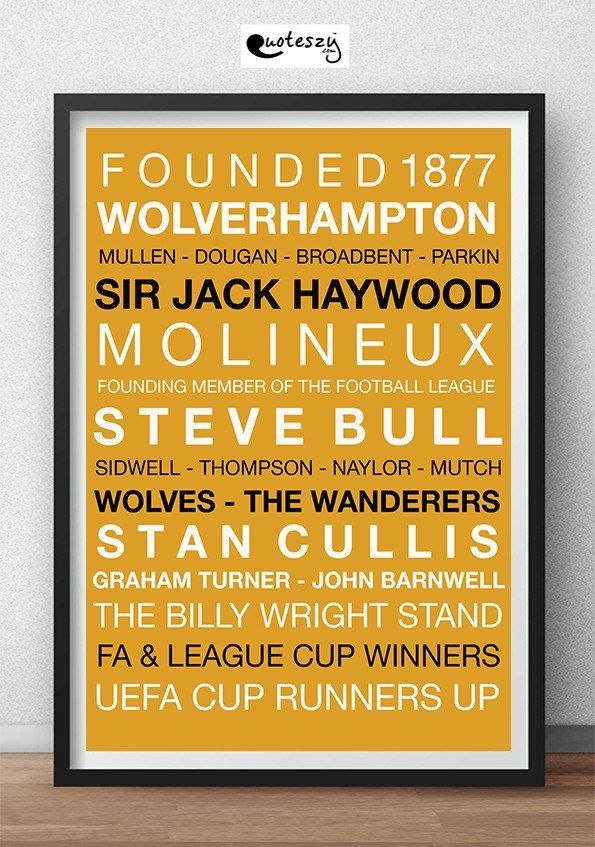 WOLVES WORD PRINT (black frame) Football Teams Word Prints - word design frames