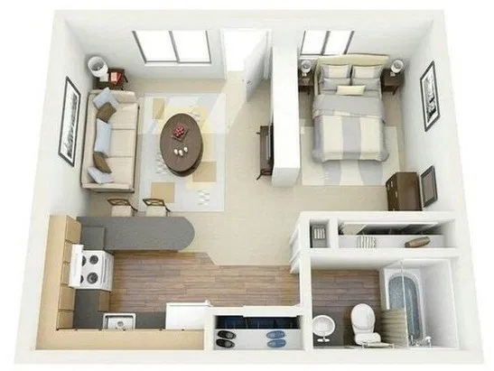 77 Small Basement Apartment Decorating Ideas In 2020 Studio Apartment Floor Plans Studio Floor Plans Apartment Floor Plans