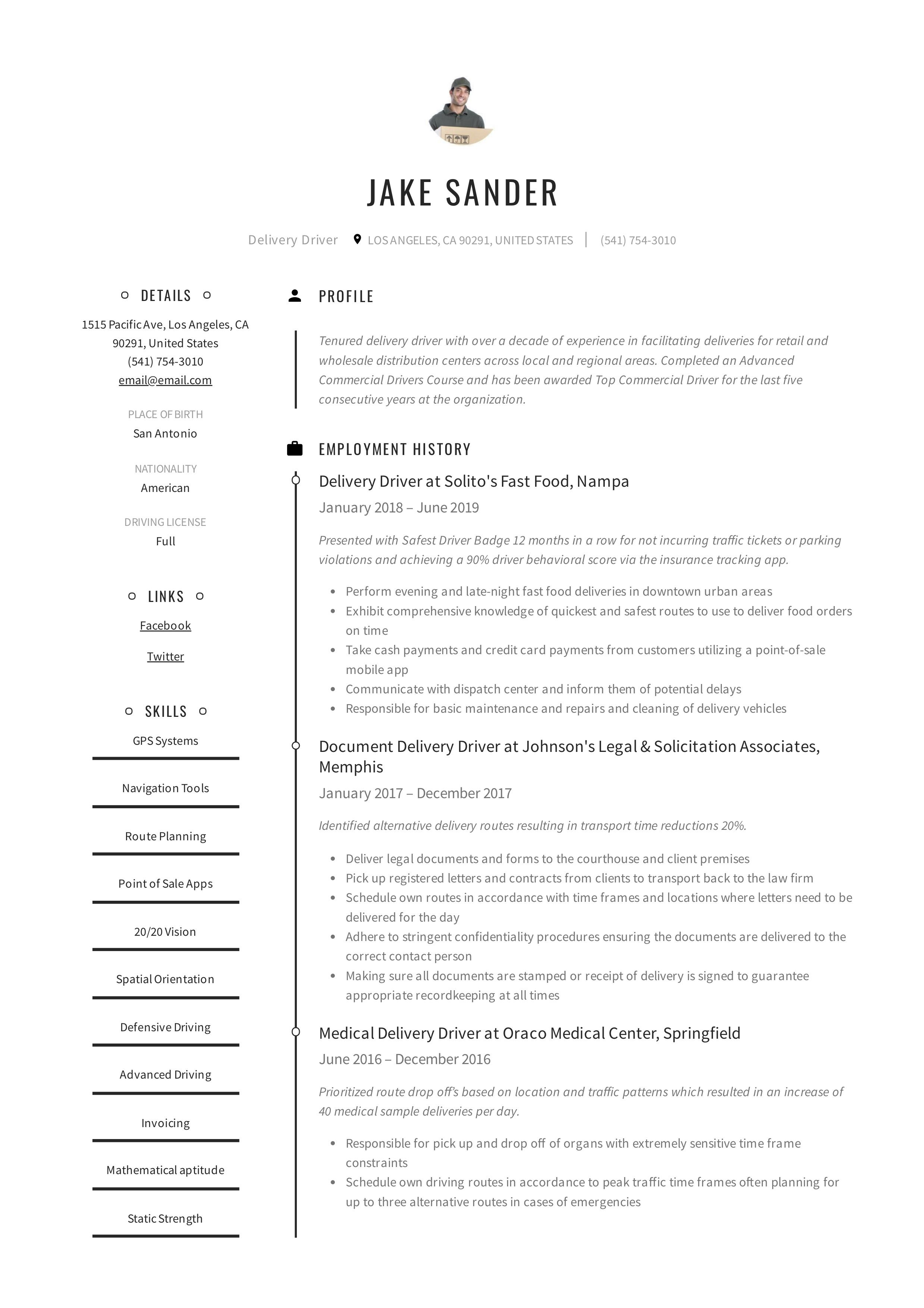 Delivery driver resume writing guide in 2020 guided
