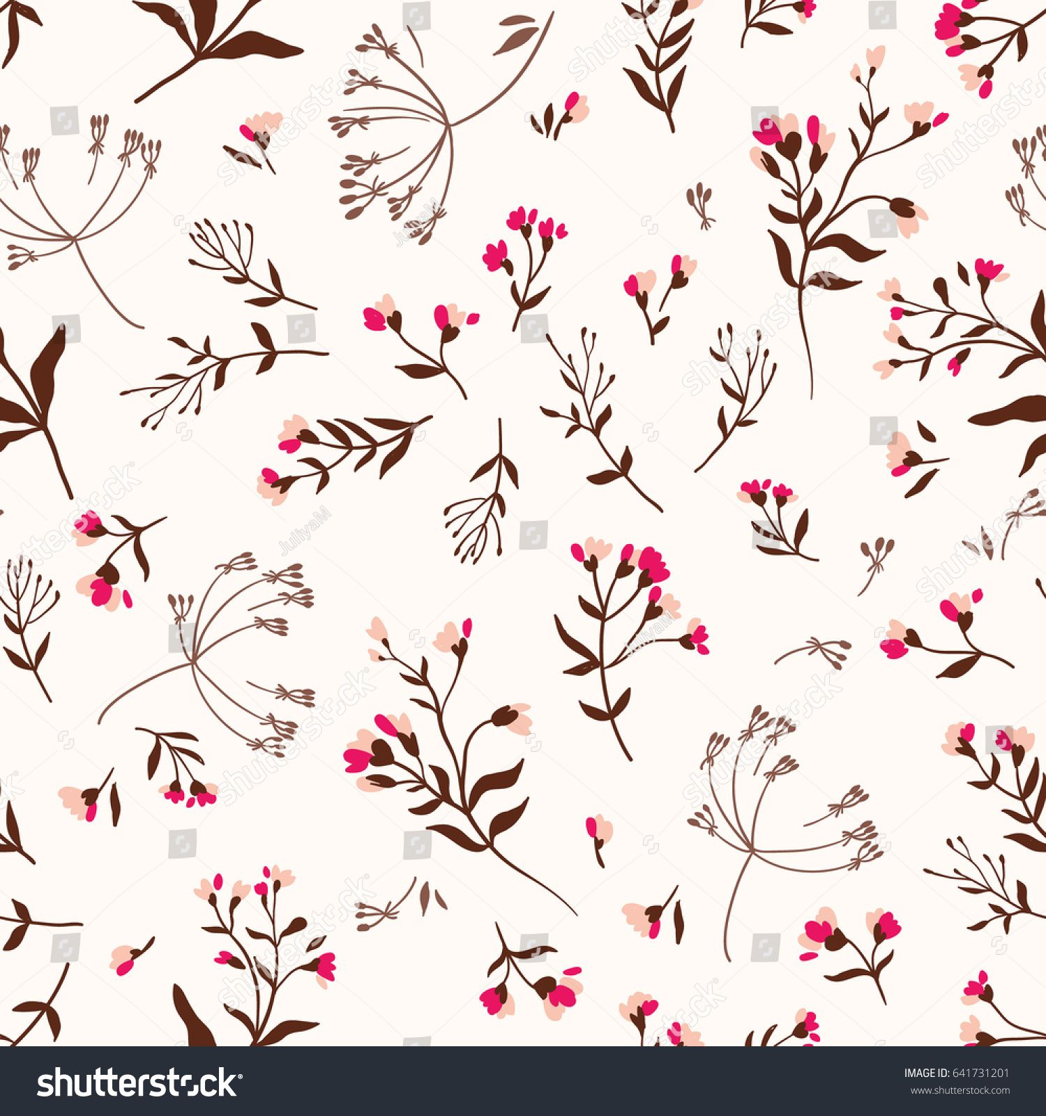 Seamless Cute Floral Vector Pattern Background Flower Pattern On