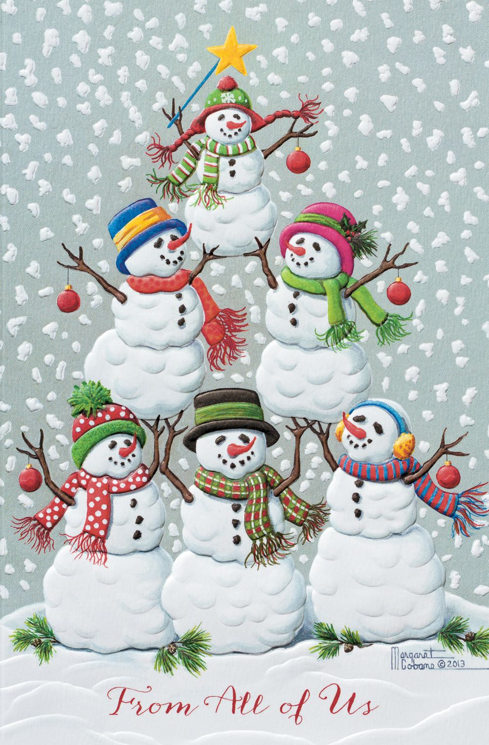 Tree Of Funny Snowmen Holiday Greeting Card Discount Greeting