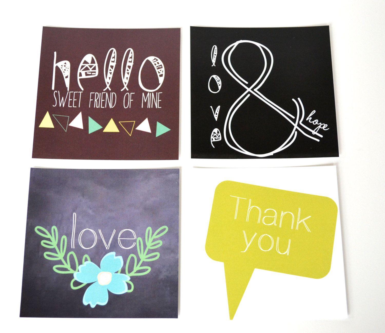 Stationery Set - 4 Cards - 4x4 Greeting Cards - 5x5 Stitched Envelopes   Birthday Cards  - Mothers Day. $10.50, via Etsy. @Aneta Nina