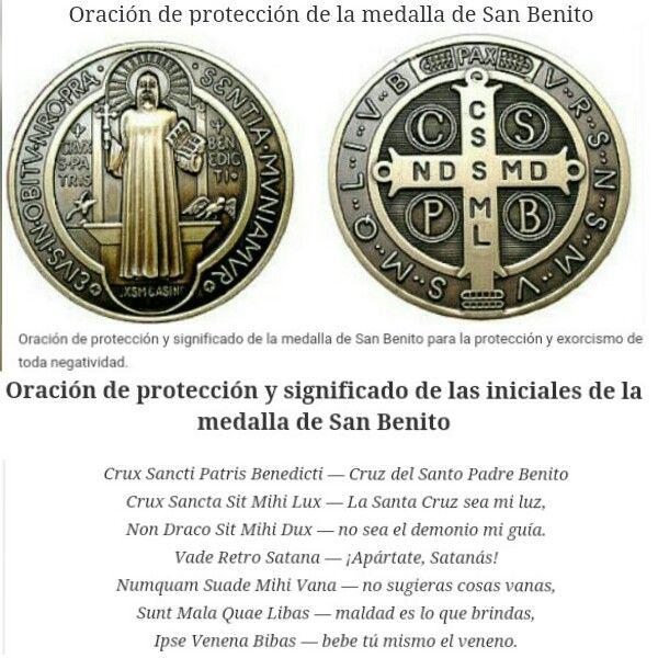Oración De Protección Y Exorcismo De Toda Negatividad Medalla De San Benito Oración A San Benito Oraciones Cristianas Oraciones