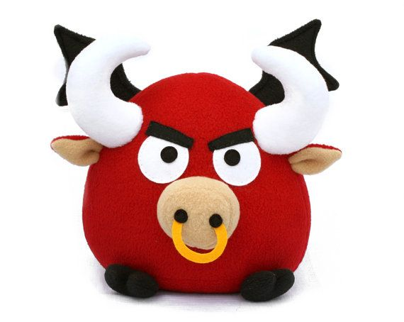 Ronky the flying red bull, fleece toy sewing pattern PDF | Peluches ...