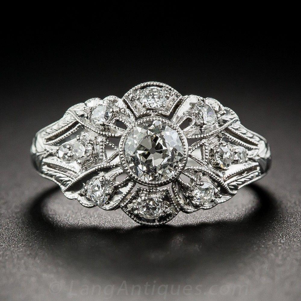 .60 Carat Art Deco Platinum Diamond Ring Vintage Diamond