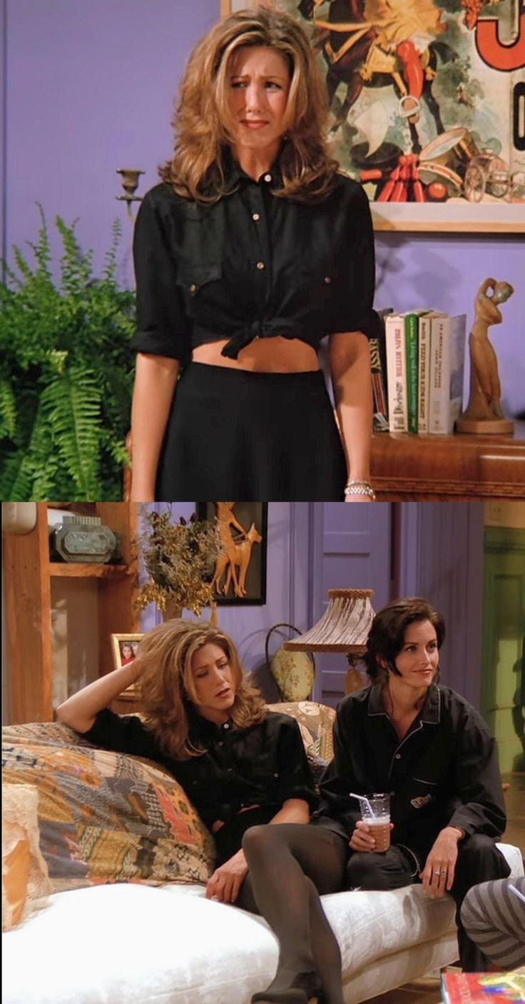 Rachel Green, Staffel 1 von Friends. 90er Jahre Vintage Outfit Inspiration. #rachelgreenoutfits