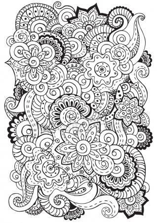 Fondo de vector con garabatos, flores y paisley de Doodle. Patrón ...