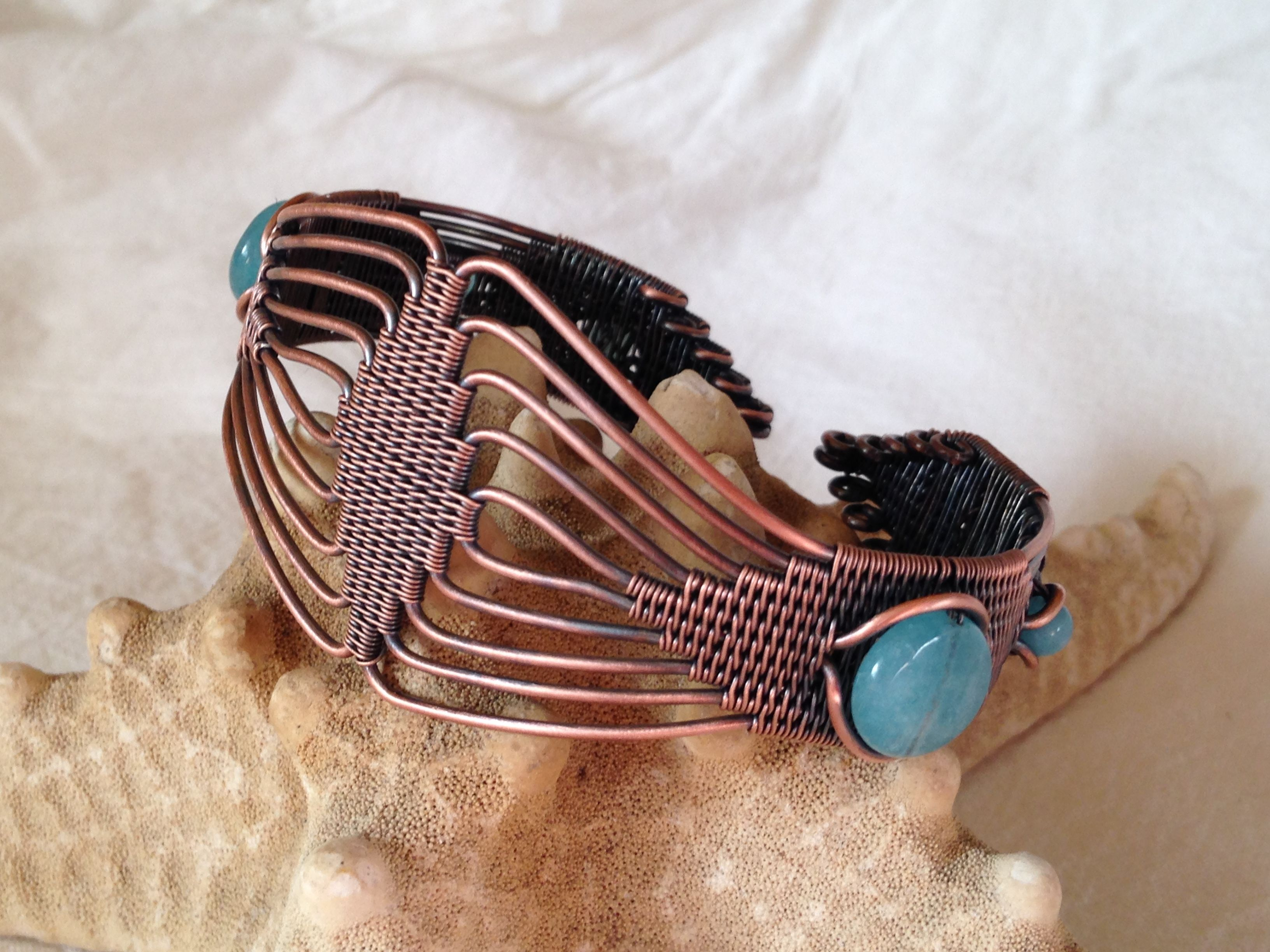 Copper and angelite.  Made  by Gedő Mária