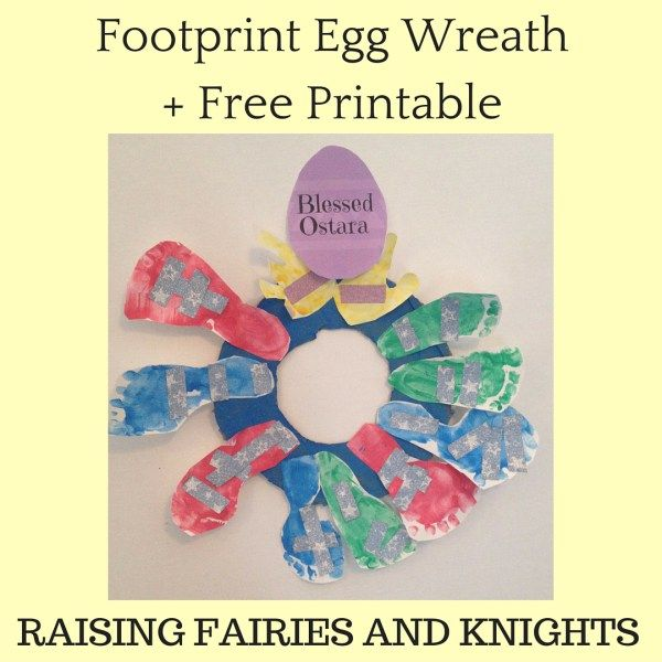 Footprint Egg Wreath + Free Printable - Time to get ready for Spring! Make this cute and easy Footprint Egg Wreath with your kids to decorate. Free printable to welcome Spring / Easter / Ostara, whichever.
