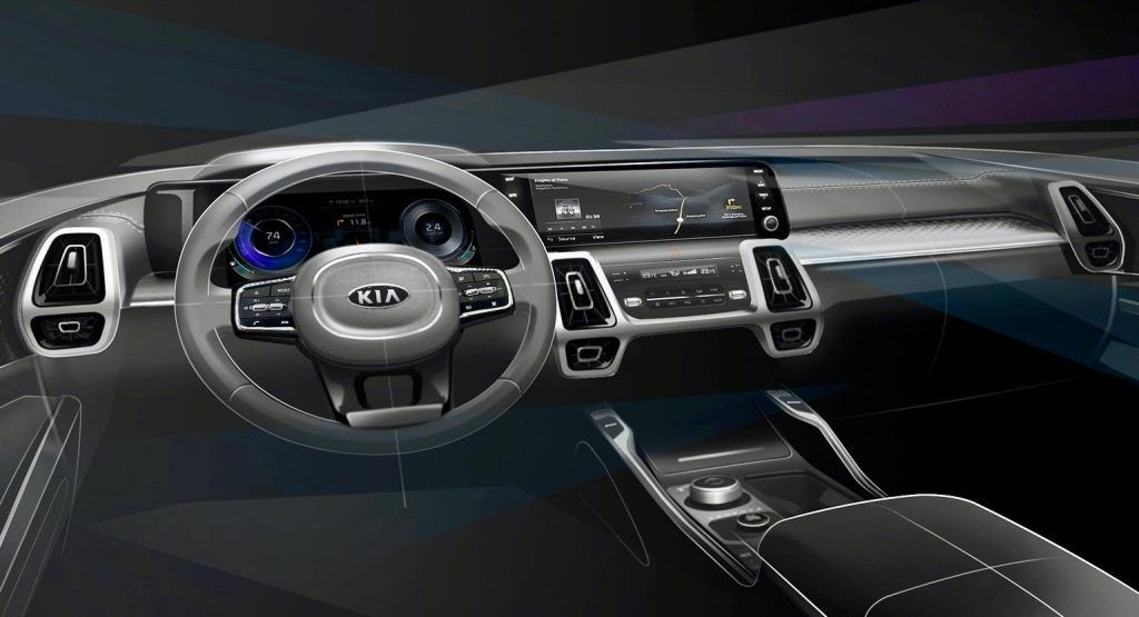 Kia Teases All New 2021 Sorentos More Upscale And Intuitive Interior In 2020 Kia Sorento Interior Kia Sorento
