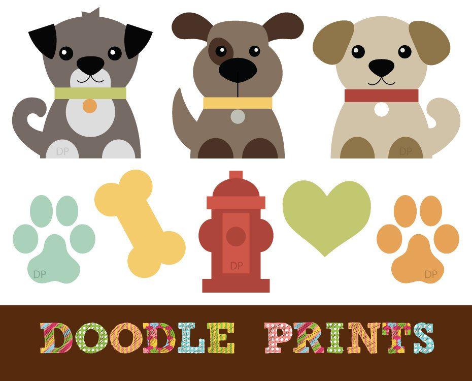 Digital Clip Art Printable Dogs Clipart Design Puppy Love