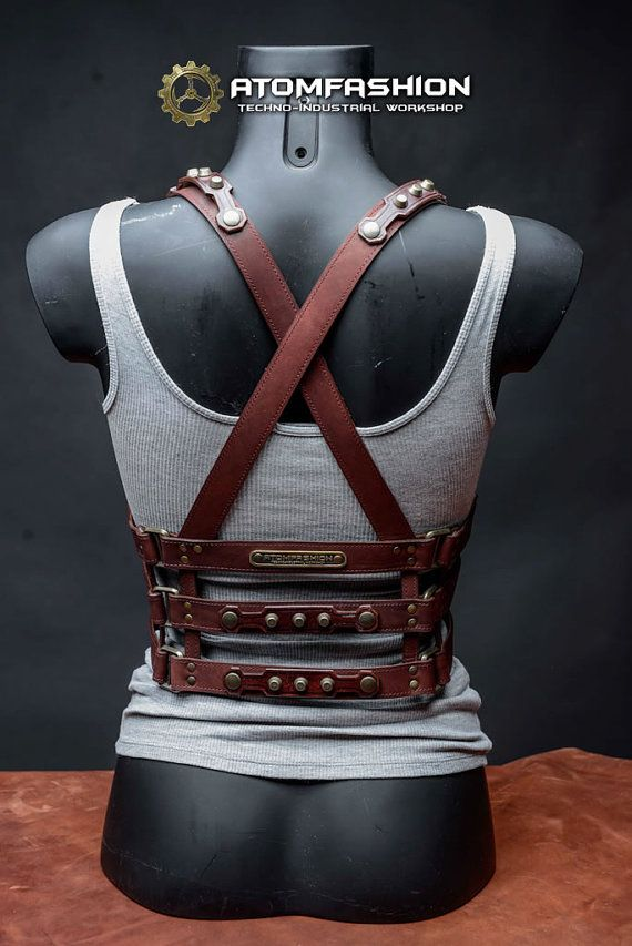 Woman leather harness of mahogany leather in steampunk style. Excellent sexual addition to woman clothes. Perfectly matches dress, blouse, shirt or