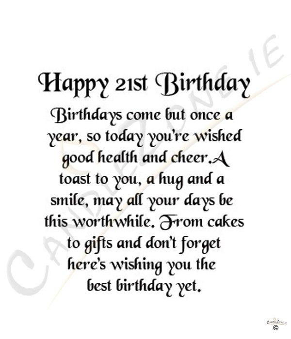 21st Birthday Quotes Quotesgram Happy 21st Birthday Quotes