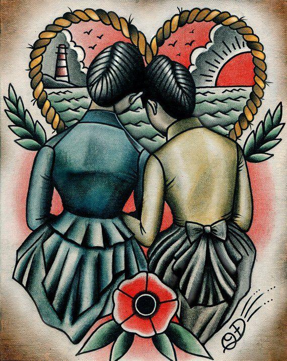 7325b195c Sunset Lovers Lesbian Queer Traditional Tattoo Flash Art Print