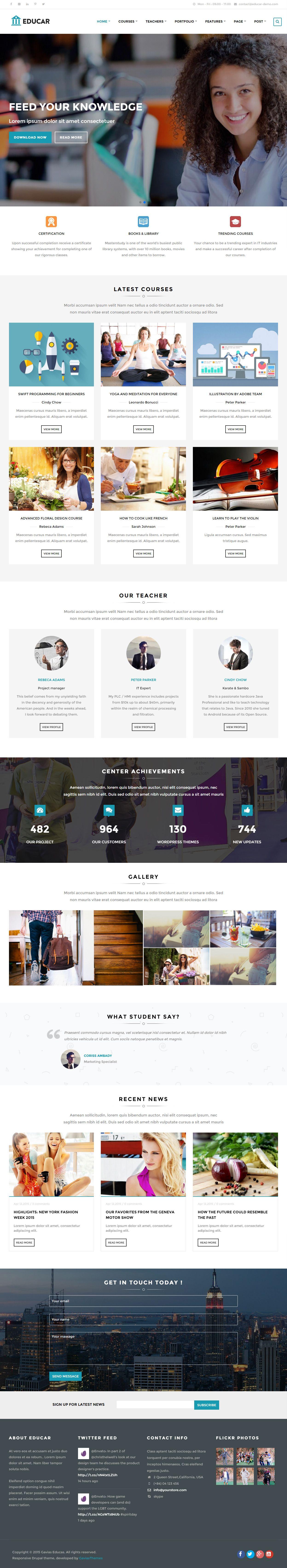 Educar Premium Responsive Education Courses Drupal Theme Small Business Website Design Web Development Design Web Layout Design