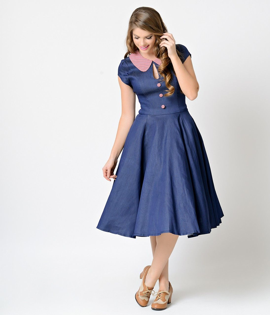 551622f444f 1950s Pin-Up Stretch Denim Blueberry Hill Cap Sleeve Swing Dress ...