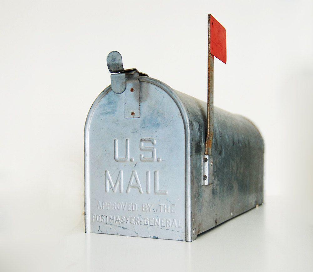 metal mailbox flag. Vintage Galvanized Metal Mailbox Flag I