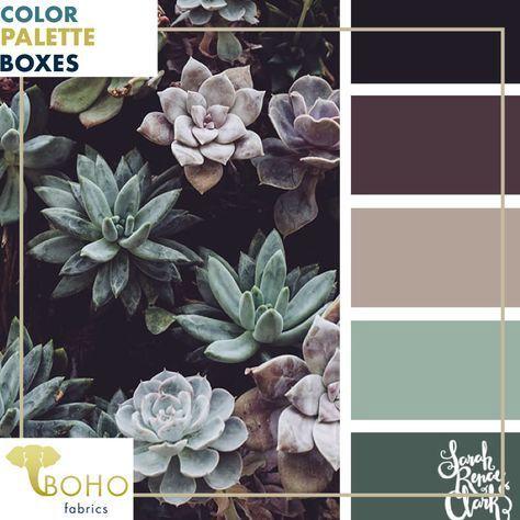 Plum & Succulents, Mystery Color Palette Box. #livingroomcolorschemeideas