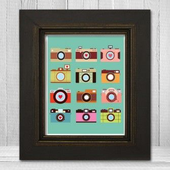 Lots of Cameras Modern Photographer Art Print - 8x10 or 11x14 - Retro Fun Photographer Gift Poster - 4 Color Options - Item TLP-LOTSOFCAMERAS1