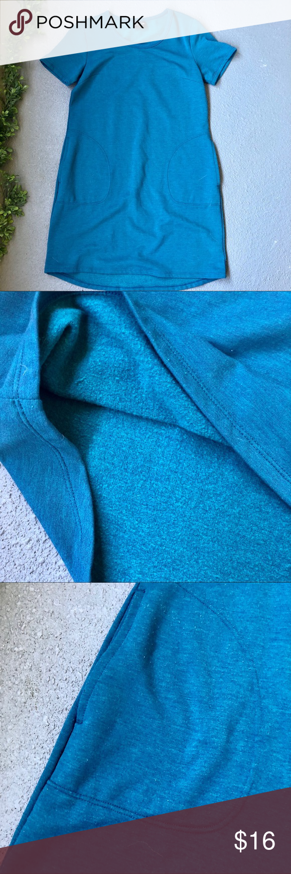 "32 Degrees  Teal Fleece Lined Dress Teal fleece lined dress, brand 32 degrees. Fleece lined, crew neck, short sleeved, pockets. Straight fit, pullover. Works as dress or tunic. Soft and cozy. EUC.  Bust / 18.5"" Length \ 33""  #0202 32 Degrees Dresses"