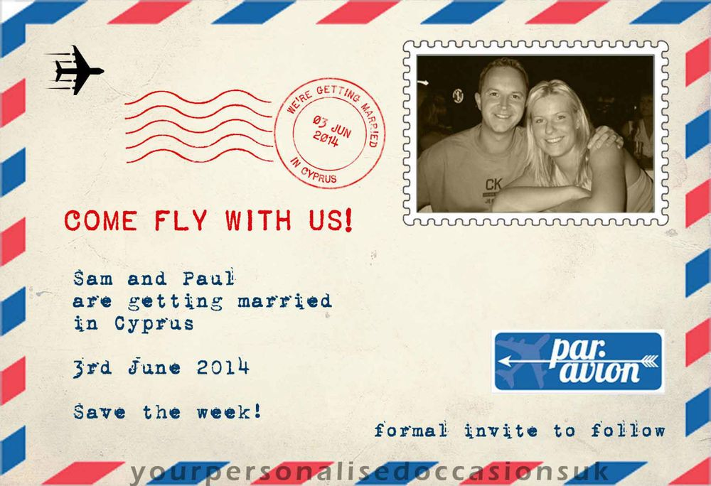 10 X Airmail Wedding Invitations Par Avion Abroad Save The Date