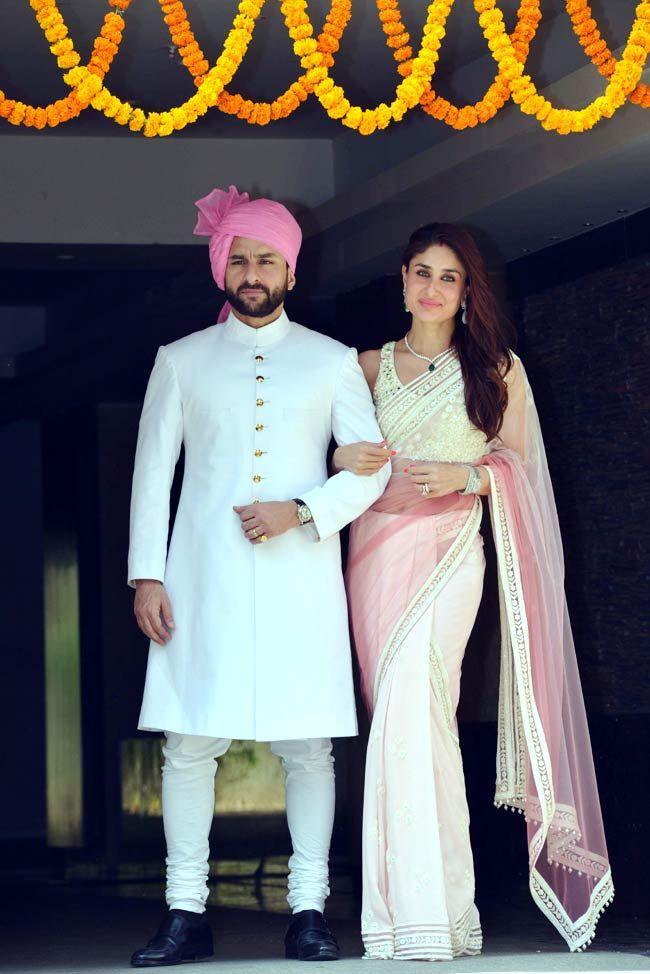 Kareena Kapoor posing with Saif Ali Khan at Soha Ali Khan & Kunal Khemu wedding. #Bollywood #Fashion #Style #Beauty