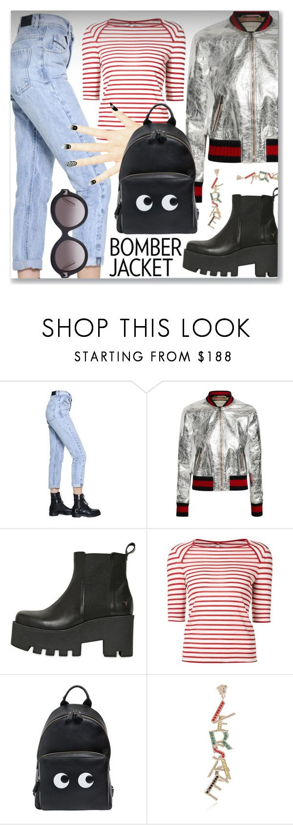 """""""Winter Style: Bomber Jackets"""" by dressedbyrose ❤ liked on Polyvore featuring Diesel Black Gold, Gucci, Windsor Smith, Yves Saint Laurent, Anya Hindmarch, Versace, Valentino, women's clothing, women and female"""