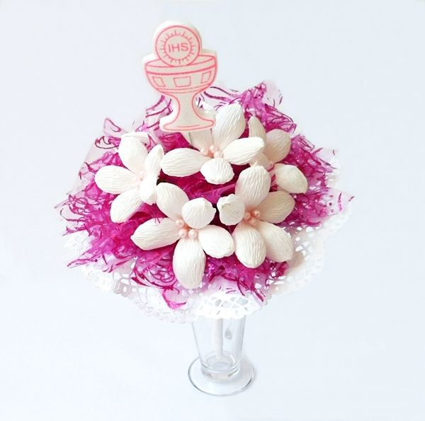Bukiet Z Kwiatow Z Krepiny W Kolorze Bialo Rozowym Wiecej Na Kwiatyupominki Net