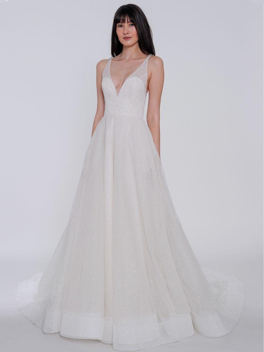 12a729b8337 Lazaro Spring 2019 wedding dress with plunging neckline