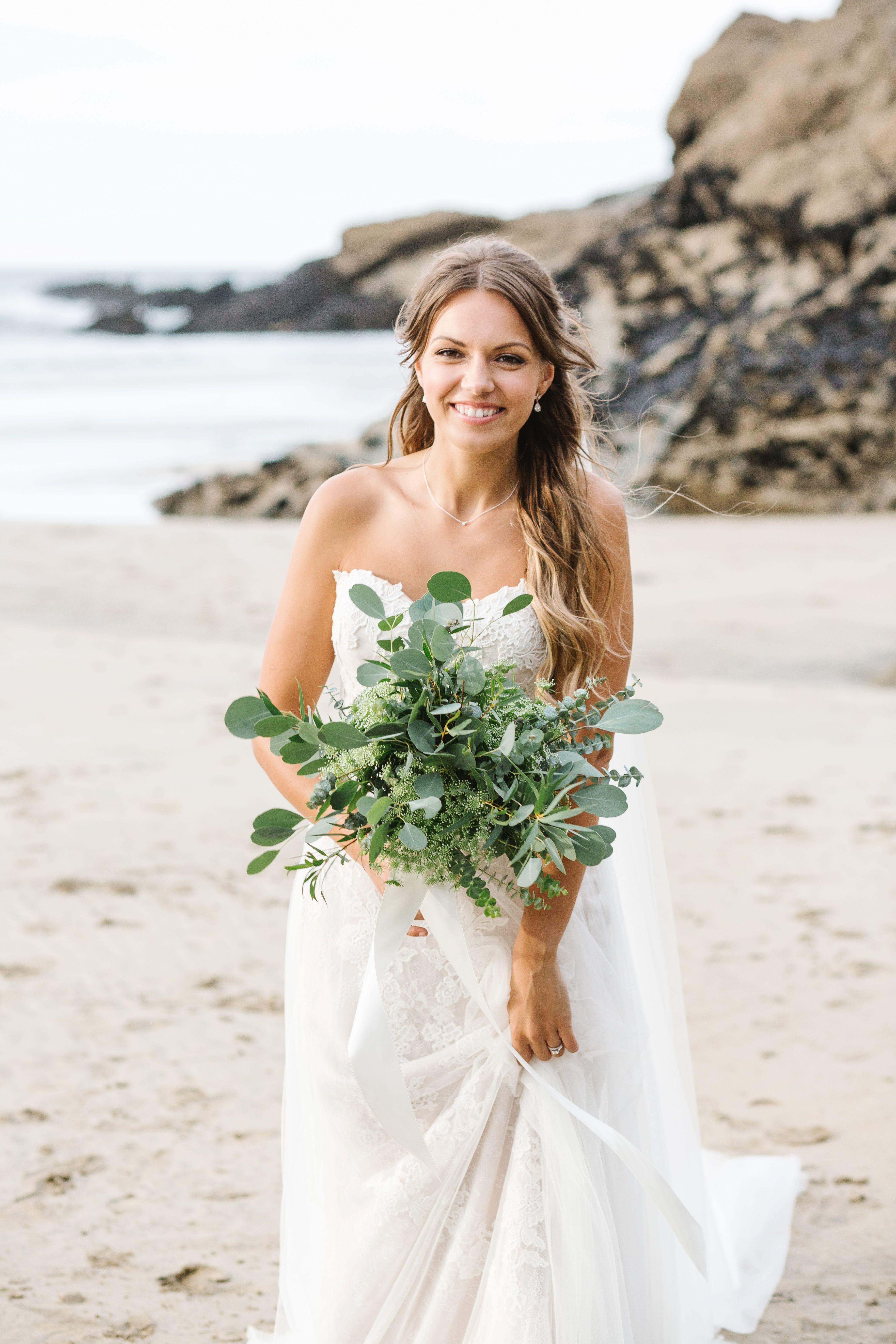 Stunning soft bridal makeup on Lusty glaze beach in