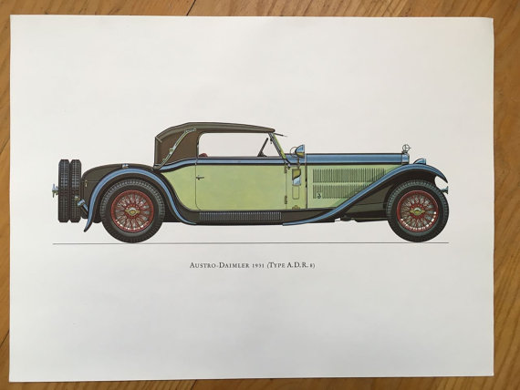 Items similar to AUSTRO DAIMLER 1931 – antique classic car print –  original vintage lithograph printed in the 1960's on Etsy