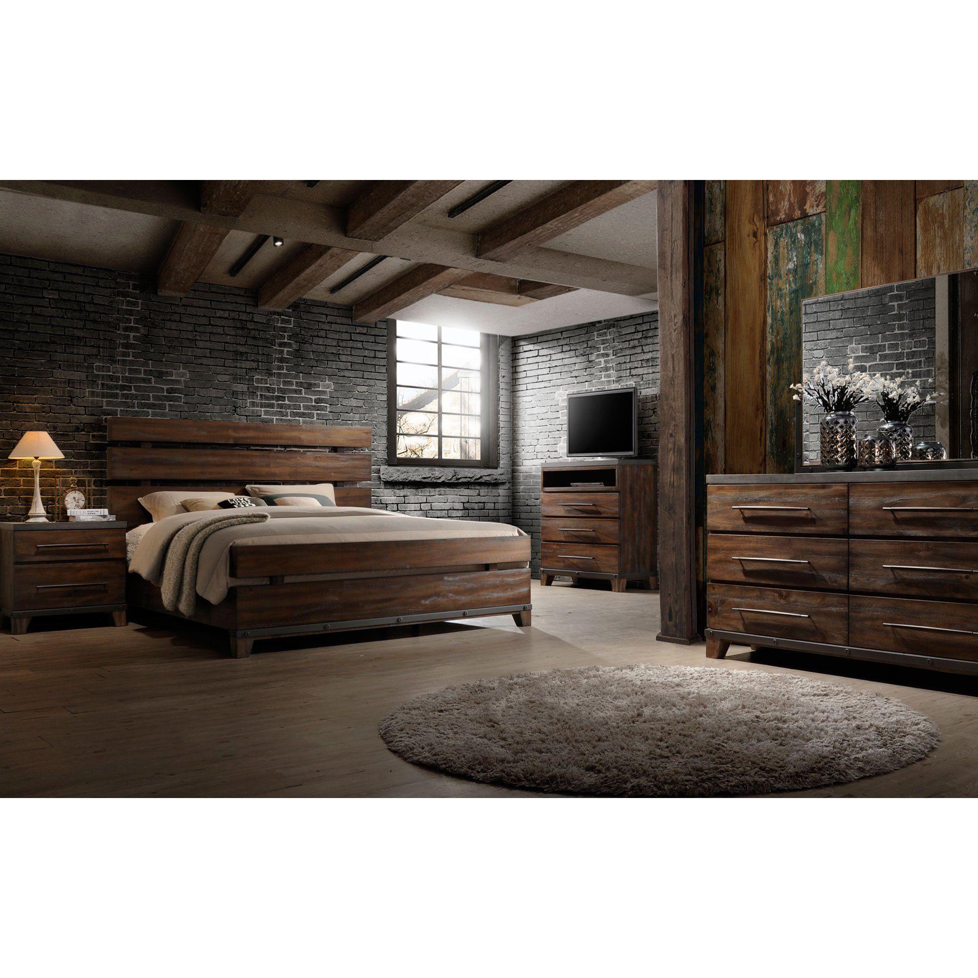Modern Rustic Brown 4 Piece King Bedroom Set Forge Rustic