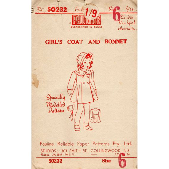 1940s Girl S Coat And Bonnet Pattern Rare Australian Pauline Brand