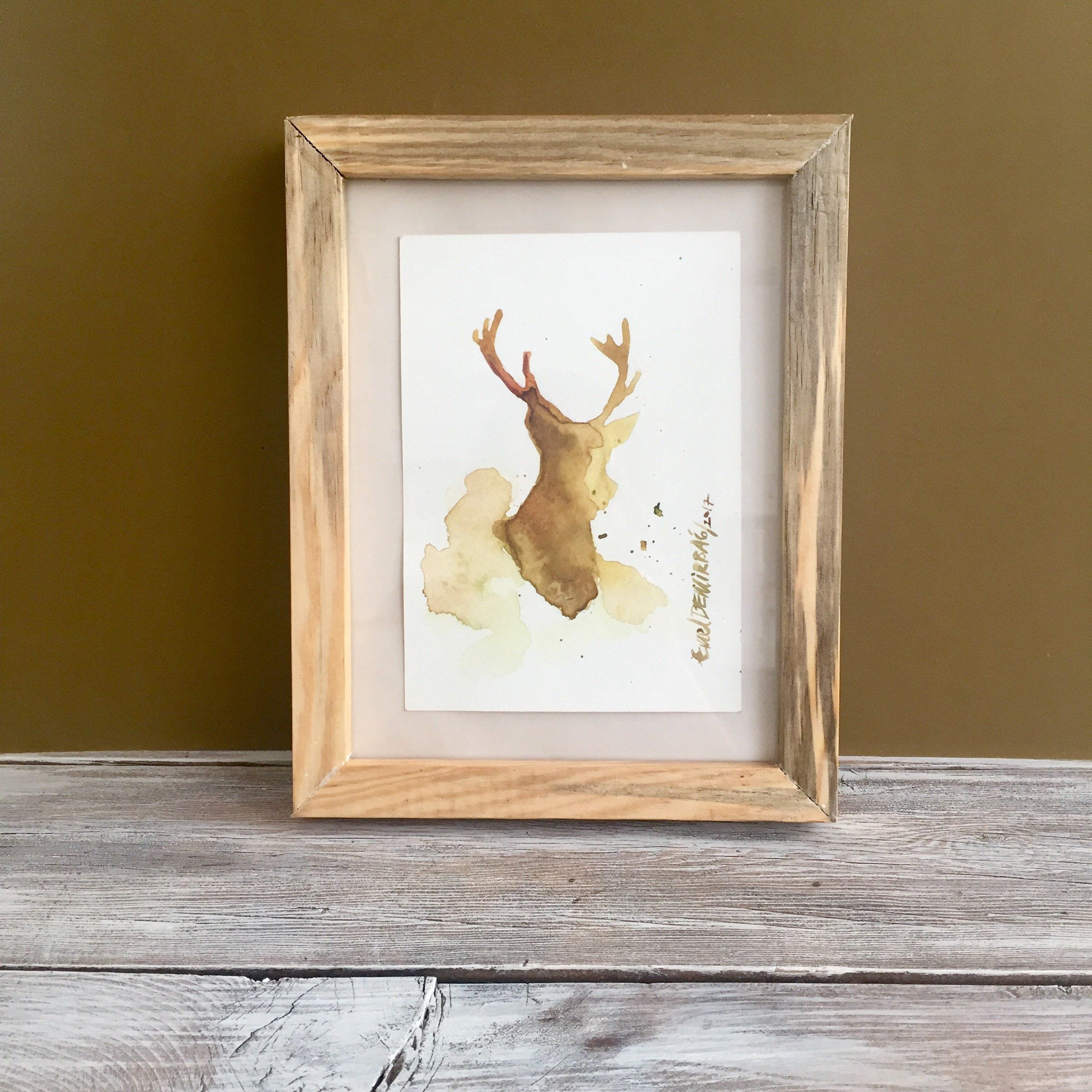44b0ecda8 Deer Silhouette, Original Watercolor Painting, Forest Animal Art, Drawing  Abstract, Art Lover Gift, Modern Art Decor, Nursery Art Decor