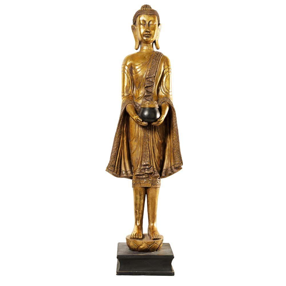 Statue Bouddha Debout En Resine Doree H 142 Cm Statue Bouddha Statue Et Bouddha