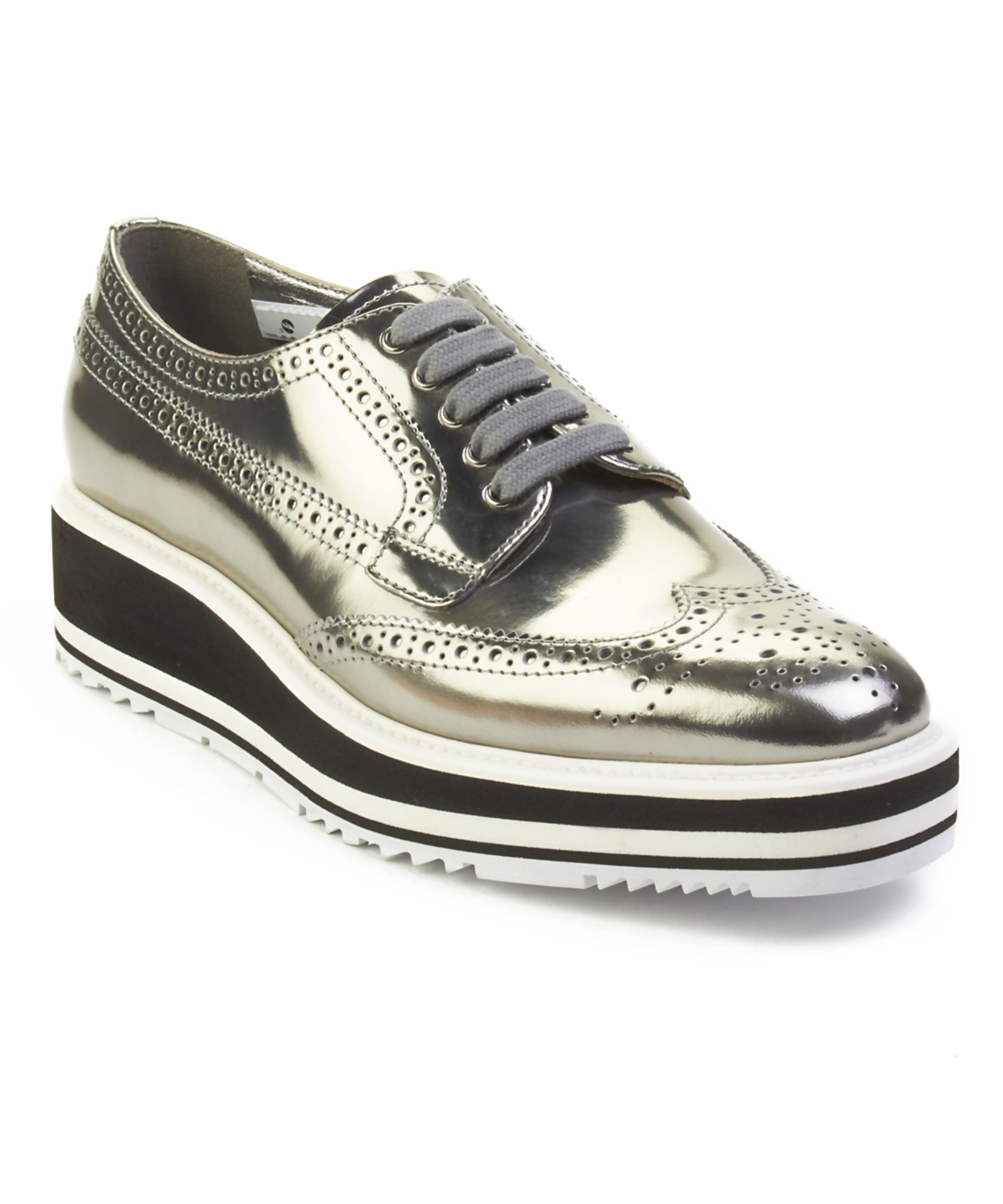 edcf308c PRADA | Prada Women's Leather Platform Derby Shoes Silver ...