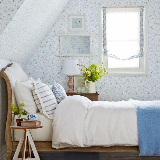 Weiß und blau Blumen Schlafzimmer Wohnideen Living Ideas ...