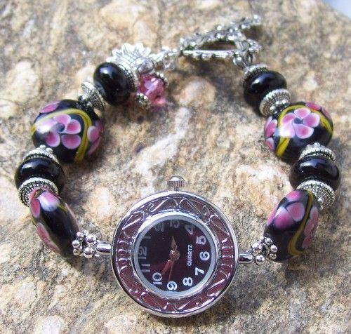 Black With Pink Flowers Lampwork Glass  Bead Watch