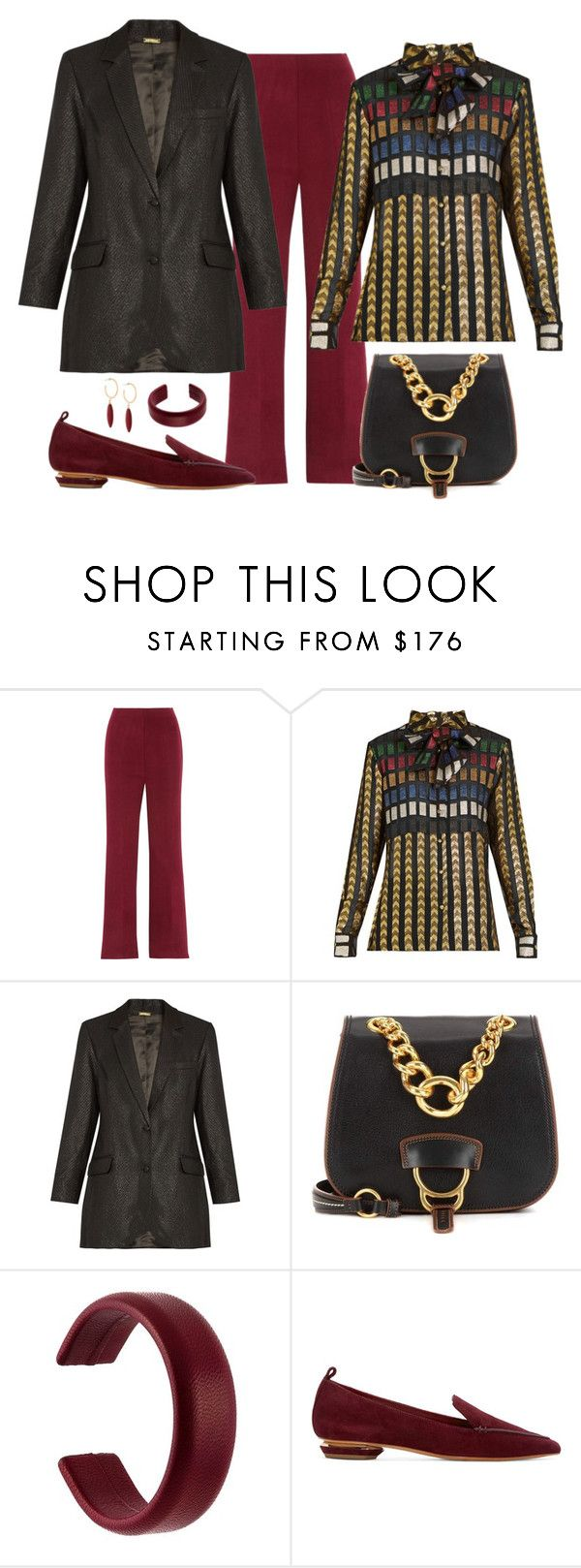 """""""Dodo Bar Necktie Blouse & Blazer Look"""" by romaboots-1 ❤ liked on Polyvore featuring Haider Ackermann, Miu Miu, Isabel Marant and Nicholas Kirkwood"""